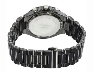 New Mens Quartz Chronograph Black Ceramic Wrist Watch Mzkanab