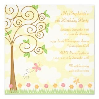 Sweet butterfly garden birthday party invitation