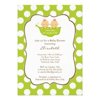 Twins Blue & Pink Giraffe Baby Shower Invitation