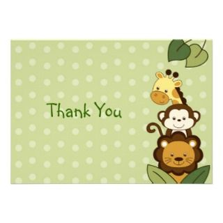 Safari Jungle Animal Flat Thank You Note Cards Personalized Invitation
