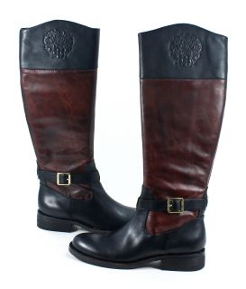 Vince Camuto Flavian Two Tone Dark Wood Black Leather Riding Boots