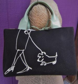 Kate Spade Maira Kalman Graphic Dog on Leash Canvas Tote Bag Purse