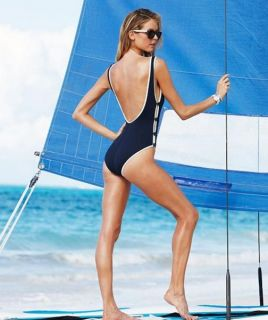 DKNY Donna Karan Red Lipstick Button Side One Piece Swimsuit 8 New