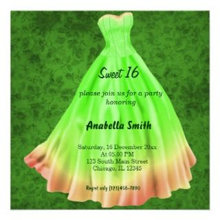Long dress Sweet 16 (Green) Custom Invitations
