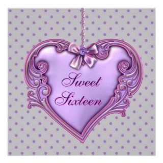 Pink Purple Heart Sweet 16 Birthday Party Custom Announcements