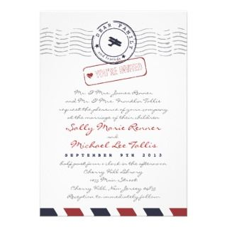 Airmail Love Letter Wedding Invitation