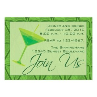 Drinks and Dinner Party Invitation Postcard