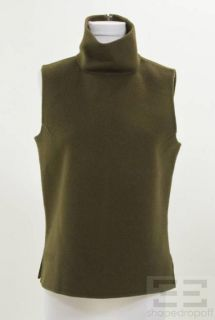 Donna Karan Signature Dark Olive Green Wool Mock Neck Sleeveless Top