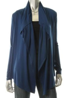 Karen Kane New Blue Drapey Open Front Knit Long Sleeve Cardigan Top
