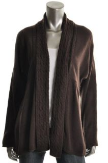Karen Scott New Brown Solid Long Sleeve Open Front Cozy Cardigan
