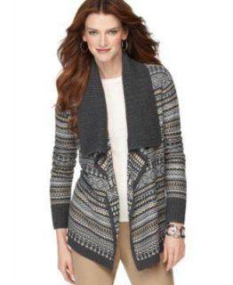 Karen Scott Cardigan Womens Charcoal Sweater Sz M