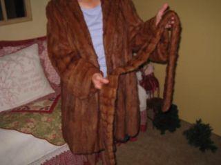 Vintage Retro Red/Brown Knee Length Fur Mink Coat & Belt Ladies Medium