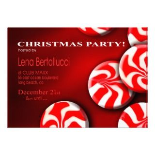 Christmas Candy Cane Cocktail Party Invitation
