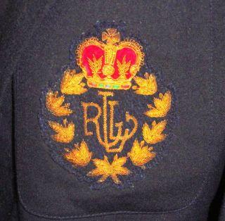 Ralph Lauren Black Wool Crested Boyfriend Blazer 4 M