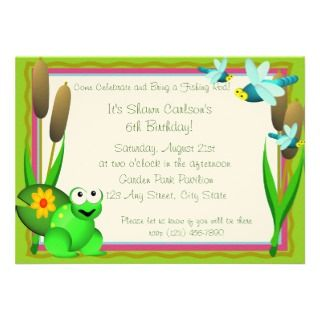 Dragonfly and Frog/ Birthday Custom Invites