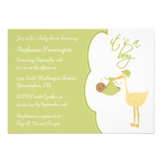 Cute its a boy green stork baby shower invitation