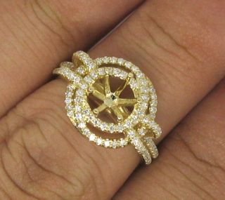 Round Cut 6 0mm Solid 14kt Yellow Gold Diamond Semi Mount Ring