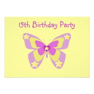13th Birthday Party Invitation, Butterflies
