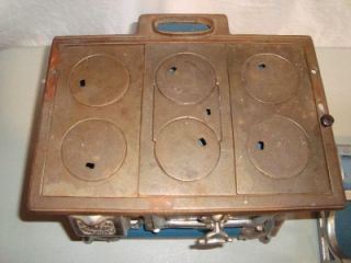 Antique Karr Range Company Salesman Sample Blue Enamel Wood Cook Stove