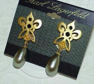 Karl Lagerfeld Gold Grey Pearl Earrings Vintage w Tag