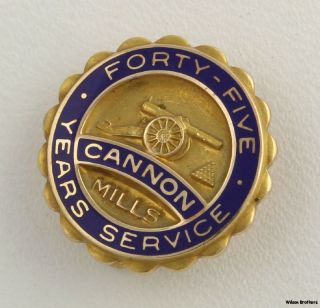 Cannon Mills 45 Years Service Badge   10k Yellow Gold Blue Enamel