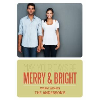 BRIGHT  HOLIDAY PHOTO CARD PERSONALIZED INVITATION