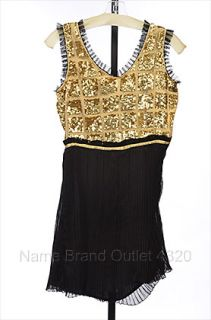 KAS New York Tendence Gold Black s 4 6 Dress Mini Sequin Pleated