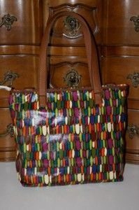 Fossil Key per Coated Canvas Shopper Tote Multi Bag Purse ZB5126998