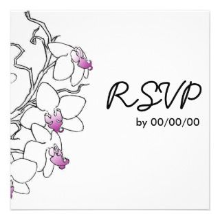 Purple and White Orchid Response Cards Custom Announcement
