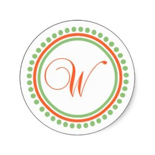 Monogram (Orange / Pale Green Dot Circle) Round Stickers