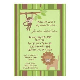 5x7 Safari Jungle Animal Baby Shower Invitation