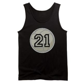 Volleyball Player Number 21 Mens Dark Tank Top for $25.00