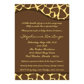 5x7 Giraffe Animal Print Baby Shower Invitation