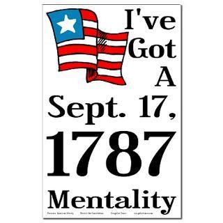 September 17, 1787 Mentality 11x17 Poster  Proud Liberal Bumper