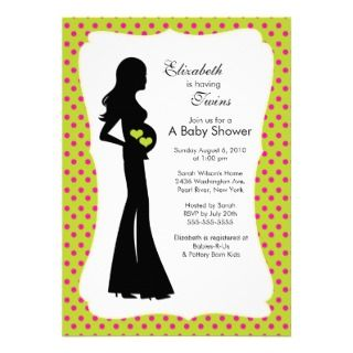 Mod Mom Twins Baby Shower Girl Boy Green Custom Announcements