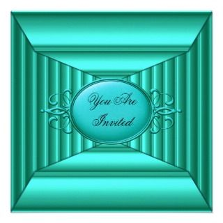 Teal and Teal Art Deco Invitation
