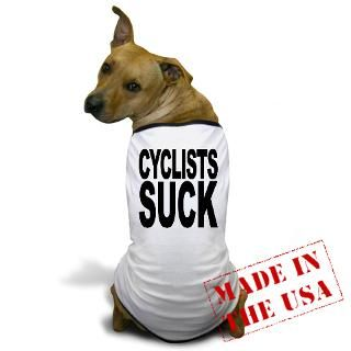 Bicycle Gifts  Bicycle Pet Apparel  Cyclists Suck Dog T Shirt