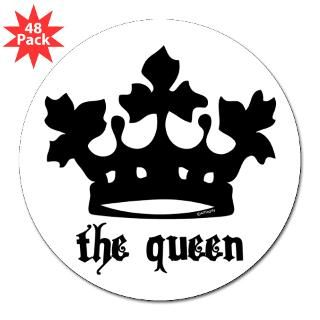 Medieval Queen Black Crown 3 Lapel Sticker (48 pk