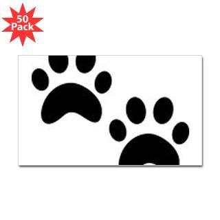Cat Paw Prints Sticker (Rectangle 50 pk)