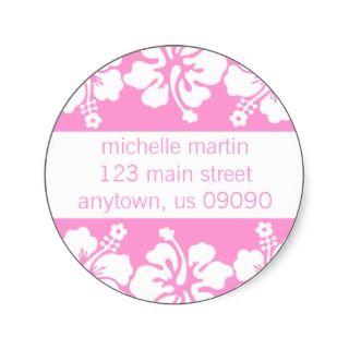 Hibiscus Flowers Return Address Label (Pink) Round Stickers