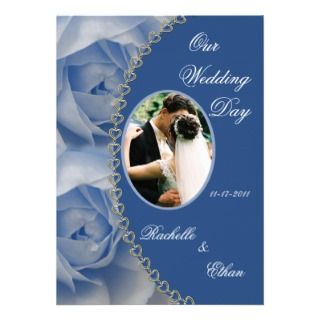 Elegant Blue Rose Wedding Photo Invitations