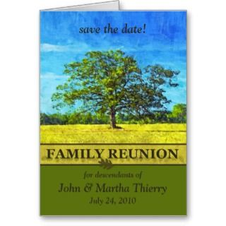 Save the Date   Oak Tree Design for Family Reunion Cards