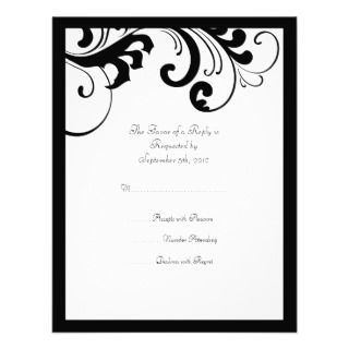 Black and White Swirls Frame Wedding RSVP Custom Invites