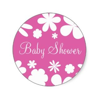 Baby Shower Flower Power Envelope Sticker Seal