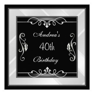elegant black silver white 40th birthday invite art deco invitation