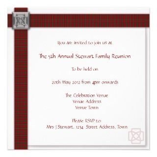 Family Reunion Scottish Tartan Custom Invitations