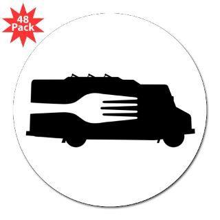 Food Truck Side/Fork (Black/White) Round Sticker for $30.00
