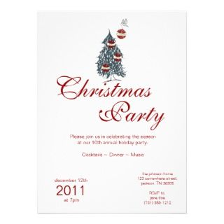Christmas Holiday Bird & Ornaments Tree Invitation