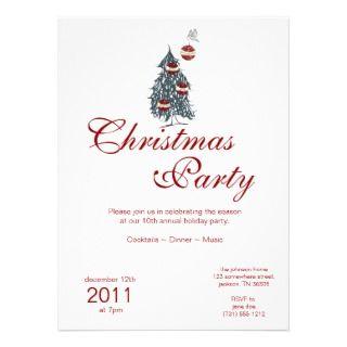 Christmas Holiday Bird & Ornaments Tree Invitation