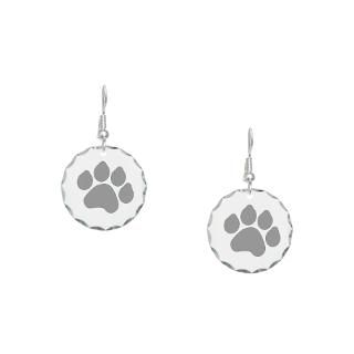 silver paw print design earring circle charm $ 16 89